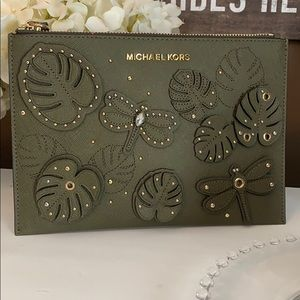 Michael Kors Olive Dragonfly XL Clutch